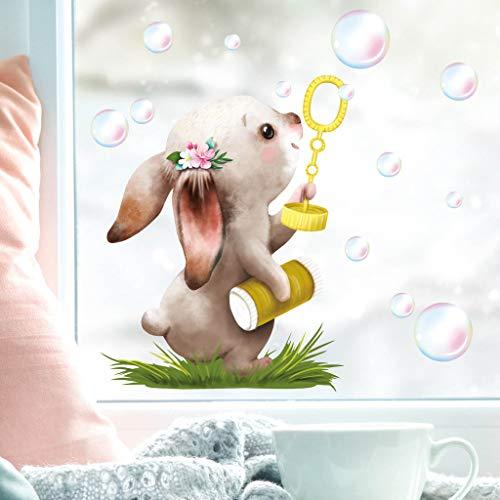 Wandtattoo Loft Fensterbild Frühling Ostern wiederverwendbar Fensteraufkleber Kinderzimmer / 1. Hase Luftblasen (1169) / 2. DIN A3 Bogen