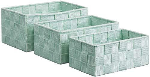 Brandsseller Aufbewahrungsbox Dekobox - Rattan-Optik - 3er-Set (Mint)