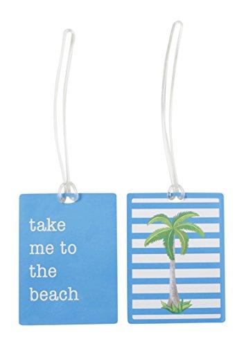 Miamica Luggage Tags 2pc Set-Palm Tree Print, Turquoise