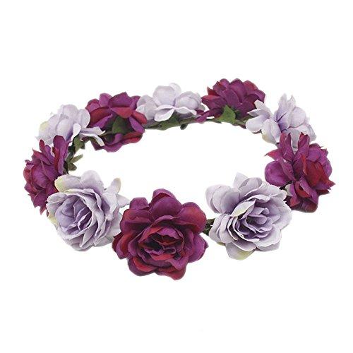 Blue Vesse Mode Frauen Hochzeit Haar Blumengirlande Krönen Stirnband Blumenkranz Haarband (lila)