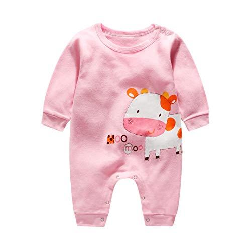 Ropa Bebe, Recién Nacido Bebé Bodies de Pata de Lobo Imprimir Peleles de Mangas largas Monos para Bebe niños Bebe niña (12-24 Meses, Rosa)