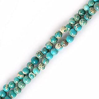 ZRBC Natural Stone Red Purple Green Black Sea Sediment Imperial Round Loose Beads 4 6 8 10MM Pick For DIY Jewelry Bracelet Dyed Color (Color : Turquoise, Size : 6mm 38cm about63pcs)