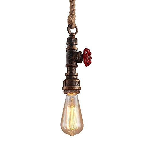 Lámpara Vintage Colgante,Modeen E27 100 cm Ajustable Lámpara de Techo de Cáñamo Rústico Retro Industriales Hierro Metal Tubería de hierro Edison restaurante Salón de Decoración Lámpara de techo
