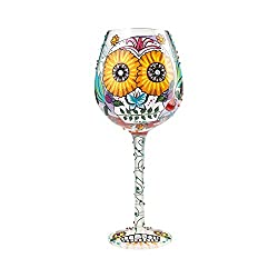 Bling Sugar Skulls Floral 15 Ounce Handpainted Wine Glass by Lolita