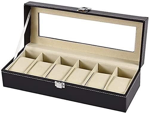 Caja de relojes Caja de relojes Tapa de vidrio con cerradura Caja de almacenamiento de relojes Cuero para hombres y mujeres Pantalla de reloj Exclusivo Negro 31.5x13x10.5cm (Color: Negro, Tamaño: 3