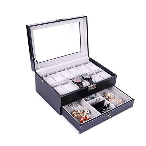 pojhf GYDSSH Caja de Reloj de joyería, Cuero de la PU del Organizador del Caso de la joyería con cajón for el Almacenamiento y visualización (Color : B)