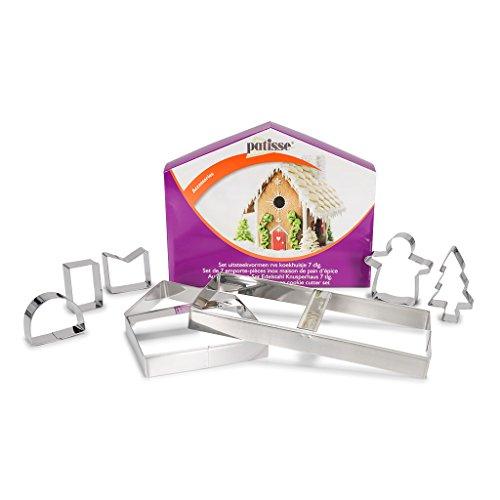 patisse 2028 02028 Ausstechformen-Set für EIN Kunusperhaus/Lebkuchenhaus 7 teilig, edelstahl, metallisch
