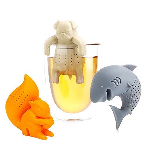 DreamJing 3 Stück Grau Teesieb Tee-Ei Teefilter Teekugeln Orange Eichhörnchen Mops Cremeweiß,Silikon lustiges Teesieb Tee Ei Sieb Silikon wiederverwendbar