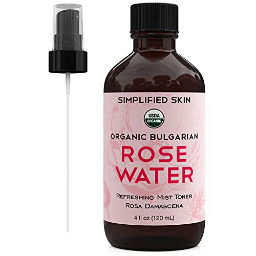 Rose Water for Face & Hair, USDA Certified Organic Facial Toner. Alcohol-Free Makeup Setting Hydrating Spray Mist. 100% Natural Anti-Aging Petal Rosewater by Simplified Skin (4 oz) - 1 Pack