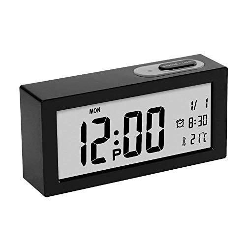 Meng cabecera despertador, Reloj ajustable Oficina reloj inteligente LCD de pantalla digital de alarma silenciosa luz de la noche de reloj, calendario (Color: Blanco, Tamaño: 15x3.8x7cm) fengong