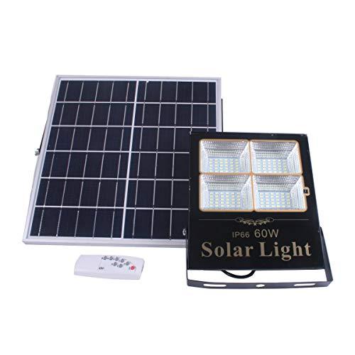 Proyector Led Solar Orientable Con Panel Solar Separado Y Mando A Distancia, 60W, 1375 Lúmenes. Protección Ip65 Exterior. Autonomía 2 Noches. 120 LEDS