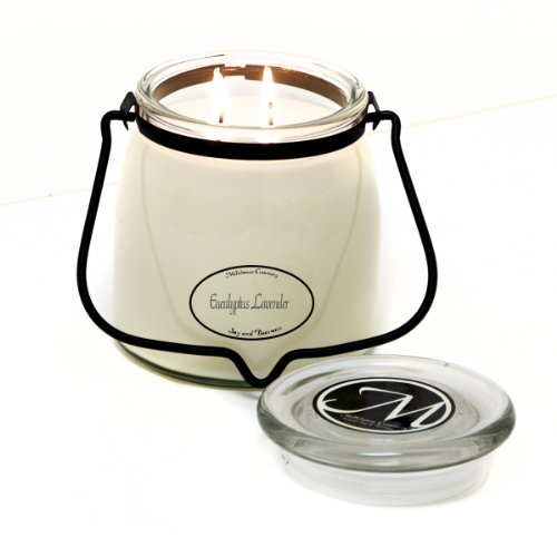 Milkhouse Candle Creamery Scented Soy Candle: Butter Jar Candle, Eucalyptus Lavender, 16-Ounce