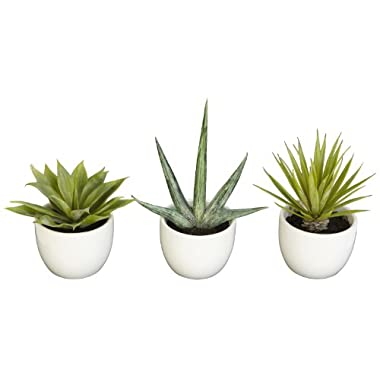 Nearly Natural 4769 Southwest Collection Agave Plant, Green, Set of 3
