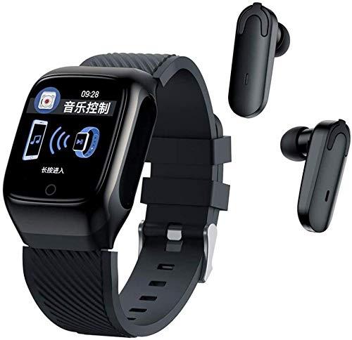 SHIJIAN Reloj inteligente para hombre con auriculares Bluetooth, deportes al aire libre, fitness, música, deportes, fitness, fitness, pulsera de dos en uno, adecuado para Android iOS