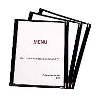 お得な3個セット!飲食店の必需品 メニューブック A4サイズ 2つ折り 3ページ6面 clearmenu クリアメニュー メニュー 透明 ビニール PVC 黒 ブラック (2つ折り6ページ)【Sise9】