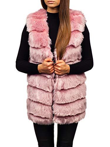 BOLF Damen elegant Fellweste Winter Täglicher Style Kunstpelz Weste Kurzweste Kunstfell Mantel Jacke Faux Pelz Waistcoat AAA MF201 Rosa S [D4D]