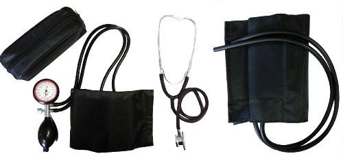 Blutdruckmessgerät Oberarm 2- Schlauch Set Typ XL extra mit extra XL Klettmanschette + Doppelkopfstethoskop schwarz Stetoskop Stethoskope Doppelkopf 1 Set