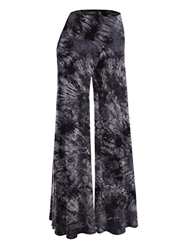 Made By Johnny MBJ WB1060 Womens Chic Tie Dye Palazzo Pants XL Black