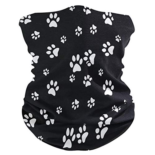 Unimagic Face Mask Black White Dog Paw Print Bandana Women Men Neck Gaiter Headband Head Scarf Balaclavas Headwear Face Scarf for Dust Wind…