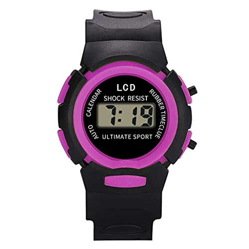 Reloj digital para niños, unisex, deportivo, correa de hebilla, reloj de pulsera, morado,