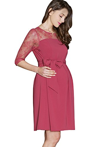 Product Image of the Sweet Mommy Maternity and Nursing Formal Floral Lace Baby Shower Dress, Rose, L