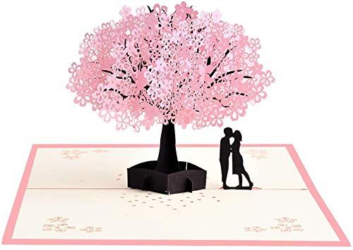 Suu 誕生日カード 記念日カード メッセージカード グリーティングカード プレゼント ポップアップ型 3D立体 繊細作り サプライズ ドキドキ ロマンチック 癒し ユニーク 家族 恋人 先輩 友人 気持ち伝え 封筒付き (桜)