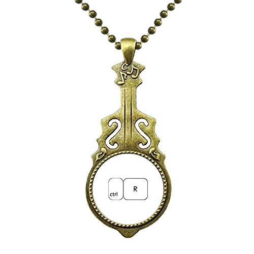 Keyboard Symbol ctrl R Art Deco Geschenke Mode Halskette Antiker Gitarrenschmuck Musikanhänger