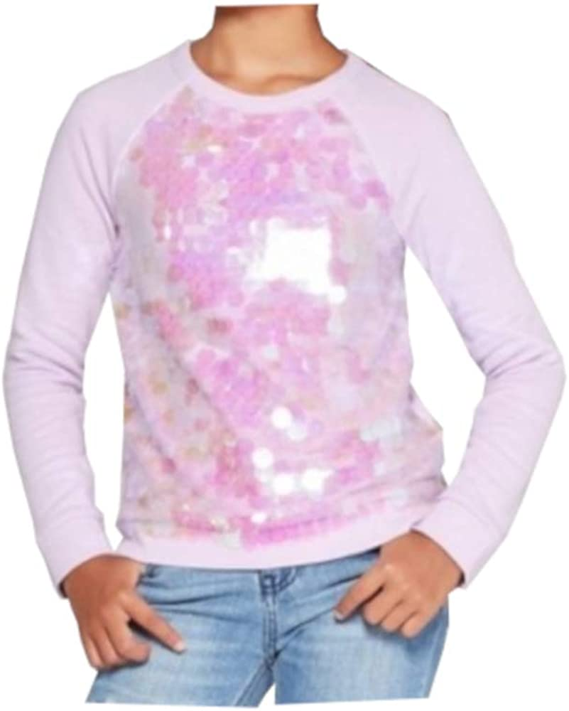 Cat & Jack Girls X-Small 4/5 Long Sleeve Flip Sequin Pullover Sweater, Lilac
