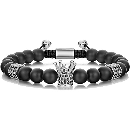 SEVENSTONE 8mm Crown King Charm Bracelet for Men Women Black Matte Onyx Stone Beads, 7.5' (Silver Tone)