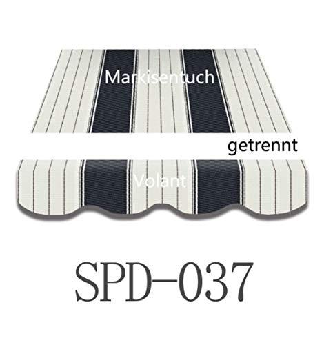 Home & Trends Preisgünstige Markisen Tuch Markisenbespannung Ersatzstoffe Maße 4 x 3 m Markisenstoffen Dunkel Grau OHNE Volant fertig genäht mit Bordeux (SPD037)