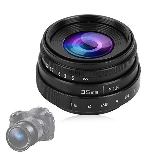 Bewinner Lente de la cámara Lente de 35 mm F1.6-16 Lente CCTV Montura C Lente de Gran Apertura para NEX M 4/3 FX, Foco Manual Micro Lente única Lente de Marco Aps-c(Negro)