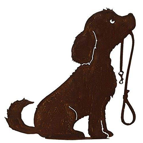 Dekoration Gartenfigur - Hundedeko: Hund mit Leine auf Bodenplatte - Höhe 50cm - Edelrost Gartendekoration/Rost Dekohund