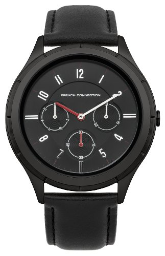 French Connection Watches FC1187BB - Reloj de cuarzo, correa de cuero color negro