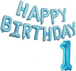 Mumoo Bear 1st Birthday Decoration for Boys,35pcs Decoration Set Include Blue Happy Birthday Banner,Birthday Balloons Set,...