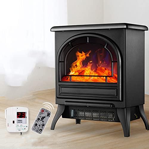 DHYBDZ Estufa de Chimenea eléctrica de 1800 W con termostato Inteligente, Calentador de Chimenea Independiente con Control Remoto, Calentador de Espacio Interior portátil de Calor rápido,Negro