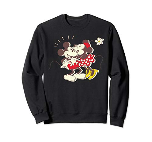 Disney Vintage Mickey Minnie Mouse Kiss Crewneck Sweatshirt