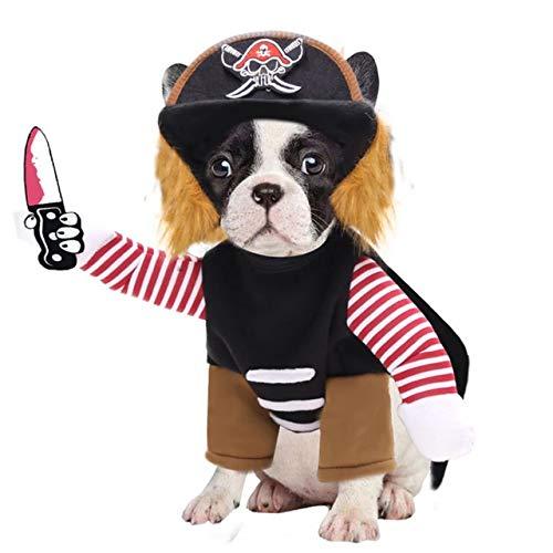 JiaHui - Ropa de Halloween para perros grandes para disfraz de corsario, disfraz de pirata para perros medianos y grandes (color: negro, tamao: L)