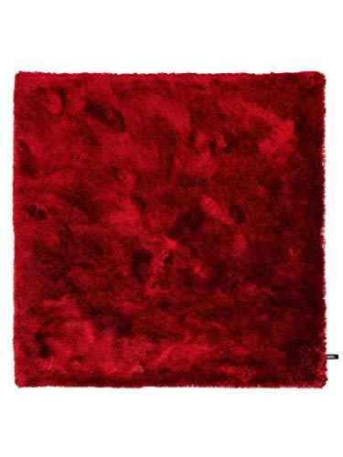 benuta Shaggy Hochflor Whisper Quadratisch Rot 60x60 cm | Langflor Teppich für Schlafzimmer und Wohnzimmer Tapis, Fibres synthétiques, Rouge, 60 x 60 cm