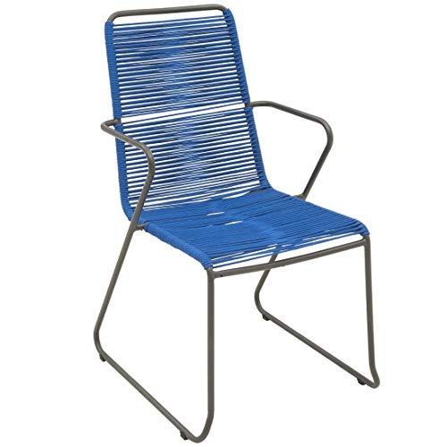 OUTLIV. OUTLIV. Gartenstuhl Maranello Gartensessel Stahl/Rope Gartensessel Outdoor Stuhl Sessel Garten Terrasse Balkon Blau
