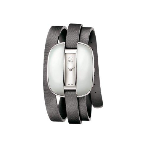 Calvin Klein K2E23620 - Reloj analógico de mujer de cuarzo con correa de piel gris