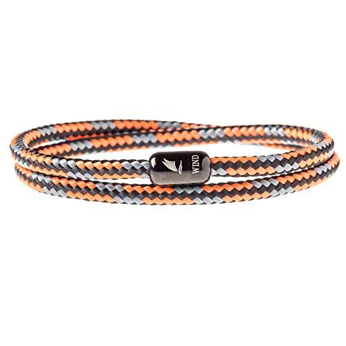 Wind Passion Armband Orange Unisex Maritim Segeltau mit Magnetverschluss für Männer und Frauen, Größe X-Large