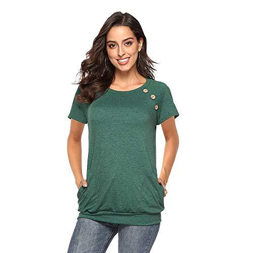 FBRDXCR Women Crew Neck Plain T-Shirt Short Sleeve Cotton Loose Casual Blouse Plus Size Tops Tee Dress Green
