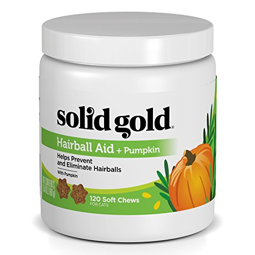 Solid Gold Cat Supplements for Hairball Aid; High Fiber Chews with Pumpkin, 120 ct