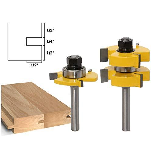 APLUS 8mm Groove und Tongue Zunge und Nut Set Router Bit Set Oberfräser Holzbearbeitung Fräsen Holzschneider Werkzeug für Graviermaschine Trimmmaschine