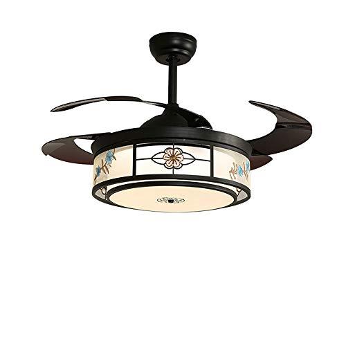 Luce Plafoniera Fashian Oficina Negro Moderno LED Comedor dormitorio de la luz del ventilador, silencioso motor, ahorro de energía de la fuente de luz, Ajuste de tres velocidades, diámetro 50 cm
