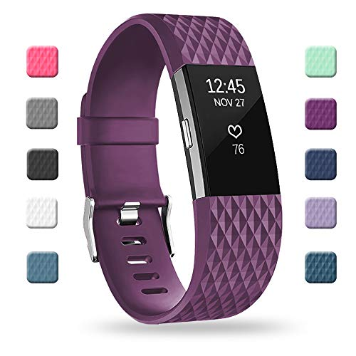 POY Replacement Bands Compatible for Fitbit Charge 2, Special Edition Adjustable Sport Wristbands, Large Plum