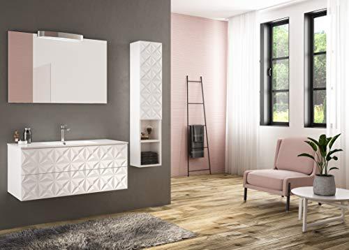 Piesse Mobili Badezimmermöbel klassisch aus Holz, Moderne Einrichtung, weiß lackiert mit Mineralmarmor-Waschbecken