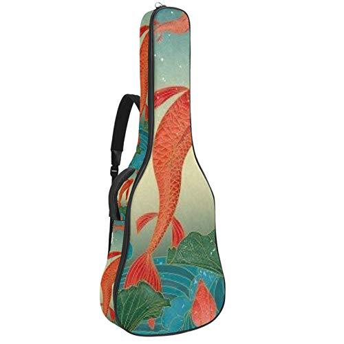 Bolsa de guitarra acústica fresca roja carpa personalizada impresión tamaño completo Guitarras caso Gig bolsa con asa acolchada correa de hombro