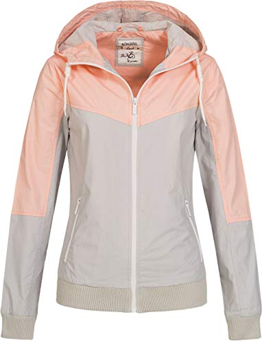 Sublevel Damen Jacke Windbreaker LSL-317/LSL-366 Kapuze, Colour-Block Light Grey S