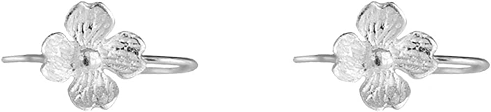 Small Matte Flower Hook Cuff Earrings Women Selling Some reservation S Teen 925 for Girls